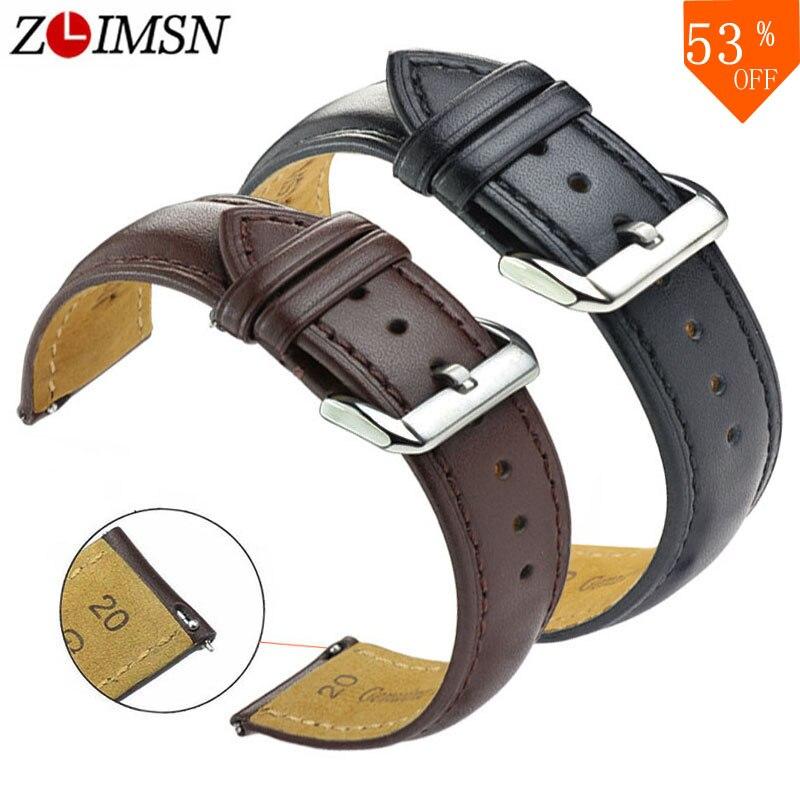 ZLIMSN New watch bracelet belt black watchbands genuine leather strap watch band 18mm 20mm 22mm 24mm watch accessories wristband