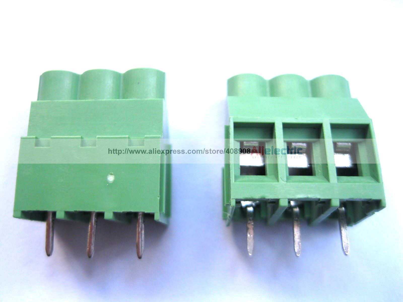 цена на 150 Pcs Green 3 Pin 6.35mm Screw Terminal Block Connector Wire Cage Type DC635