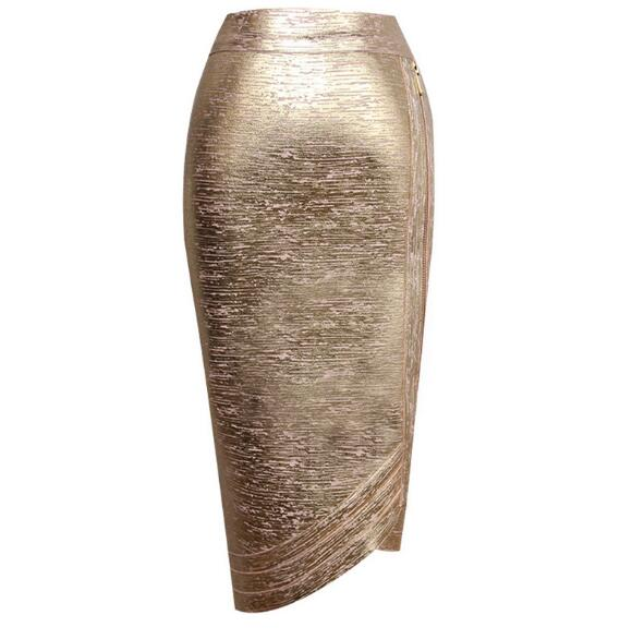 Top quality metalic knee-length <font><b>bodycon</b></font> party <font><b>sexy</b></font> slit pub celebrity vintage women <font><b>bandage</b></font> <font><b>skirt</b></font> wholesale image