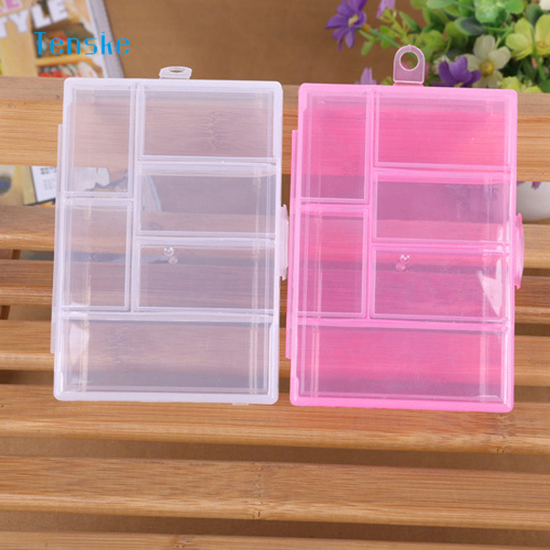 TENSKE 6 Grids Transparent Pink/White Pills Jewelry Nail Art Storage Case Bead Nail Tool Storage Container Craft Organizer 1PC