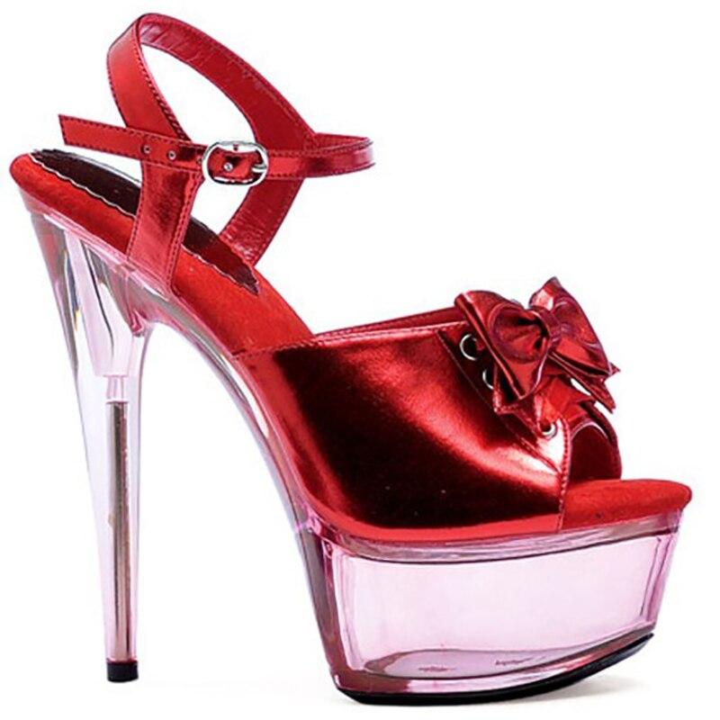 ea05dd365 Transparente Do Casamento Couro Heel black Salto Grande Plataforma  Brilhante 15cm rose Heel Cm Das Heel Verão Cristal Sapatos Sexy Bombas Red  Heel Mulheres ...