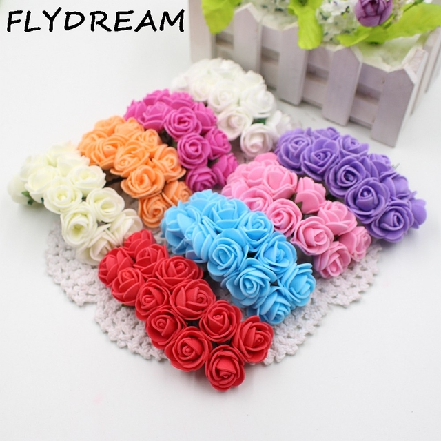 FLYDREAM 144pcs 2cm Mini Foam Rose Bouquet Fake Artificial Flowers ...
