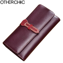 OTHERCHIC Vintage Real Leather Women Wallets Card Holder Stylish Slim Wallet Women Female Purses Money Bag