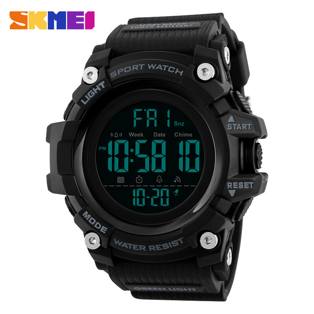 <font><b>SKMEI</b></font> <font><b>1384</b></font> Men Sports Watches Countdown Double Time Watch Alarm Chrono Digital Wristwatches 50M Waterproof Relogio Masculino image