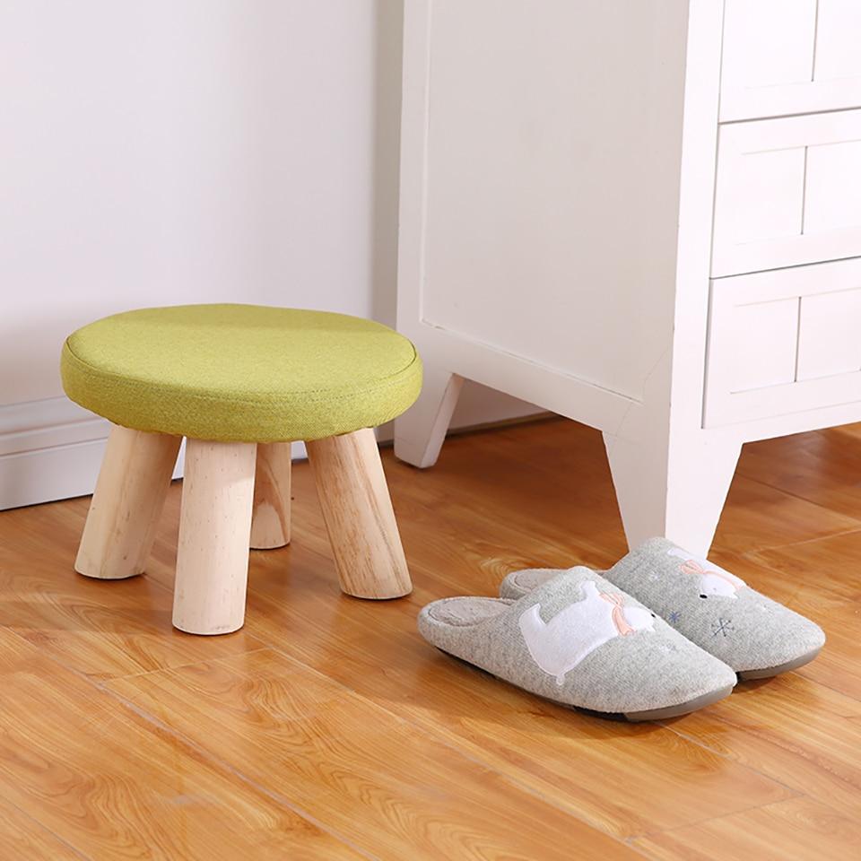 Cute Small Children Chair Wood Stools Kid Shoes Sofa with Creative Plush Cartoon Round Shoe Chair Kindergarten Chair Baby Stool