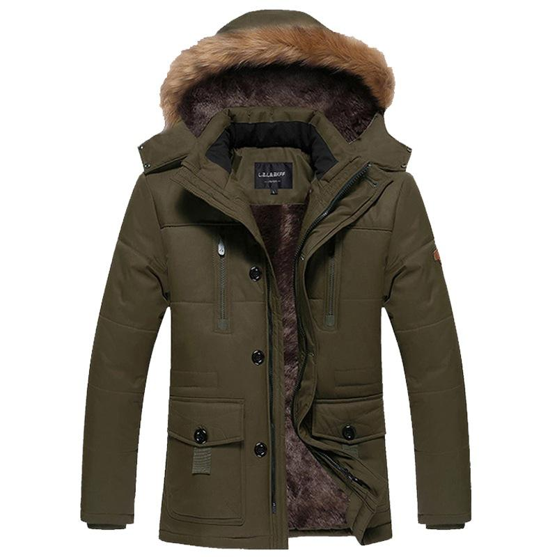 ФОТО 2017 New Fashion Brand Clothing Parka Men Thick Mens Winter Parka With Fur Hood Solid Trend Long Mens Jackets And Parka Men