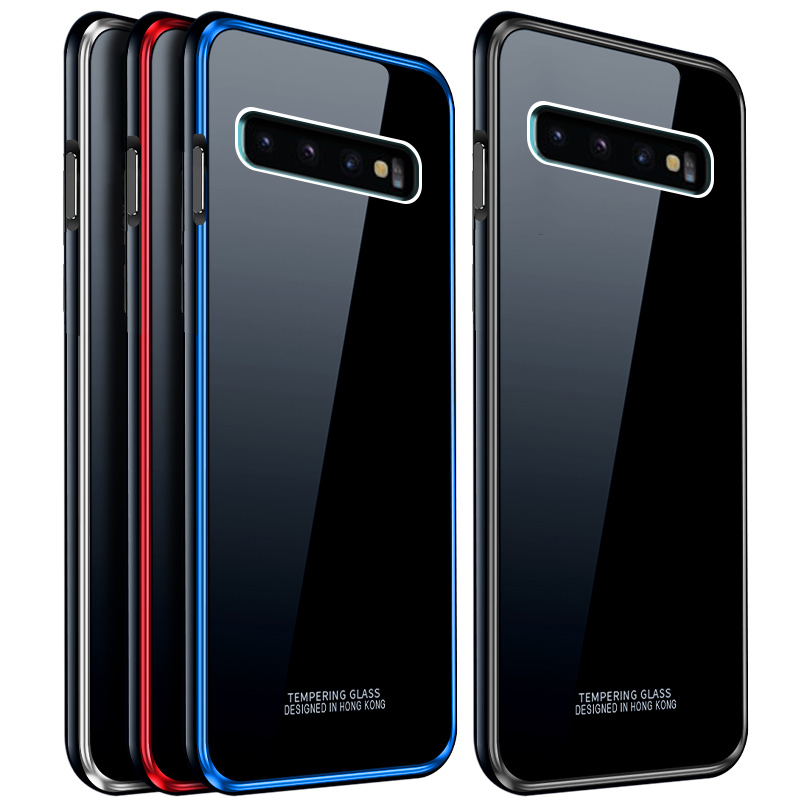 Aluminum Metal Frame Case For Samsung Galaxy S10 Case S10+ Tempered Glass Back Cover For Samsung S10 Plus Metal Bumper Case