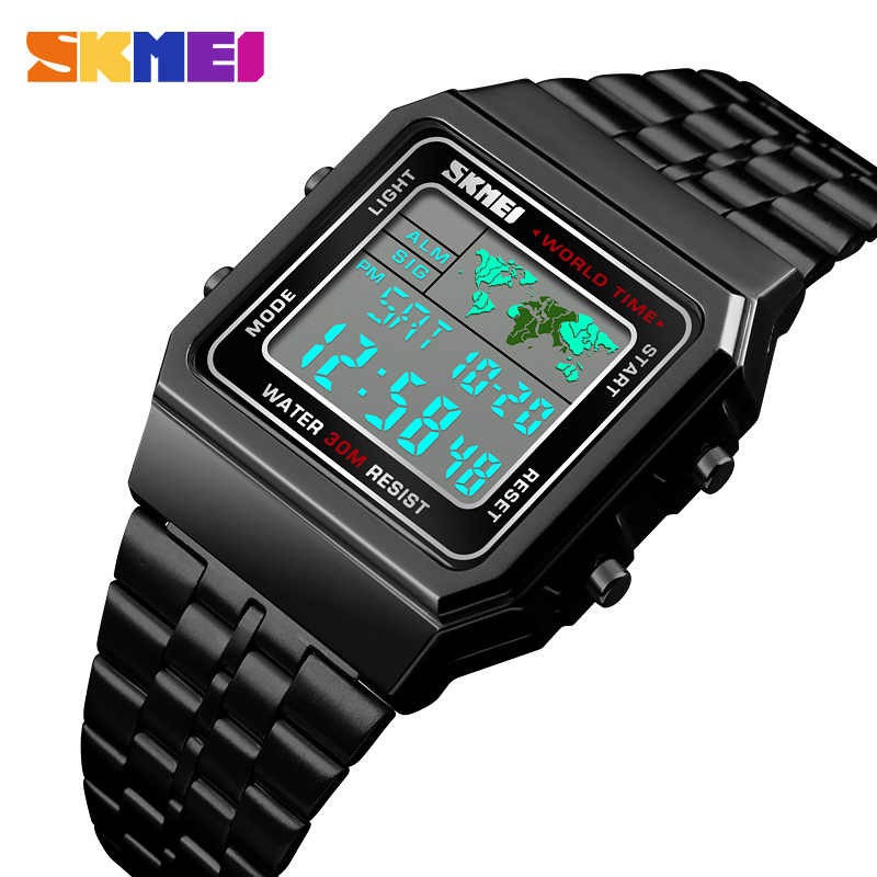 2018 SKMEI Mens Watch Men Military Waterproof Golden Watch Stainless Steel Fashion LED Digital Electronic Wristwatches kol saati