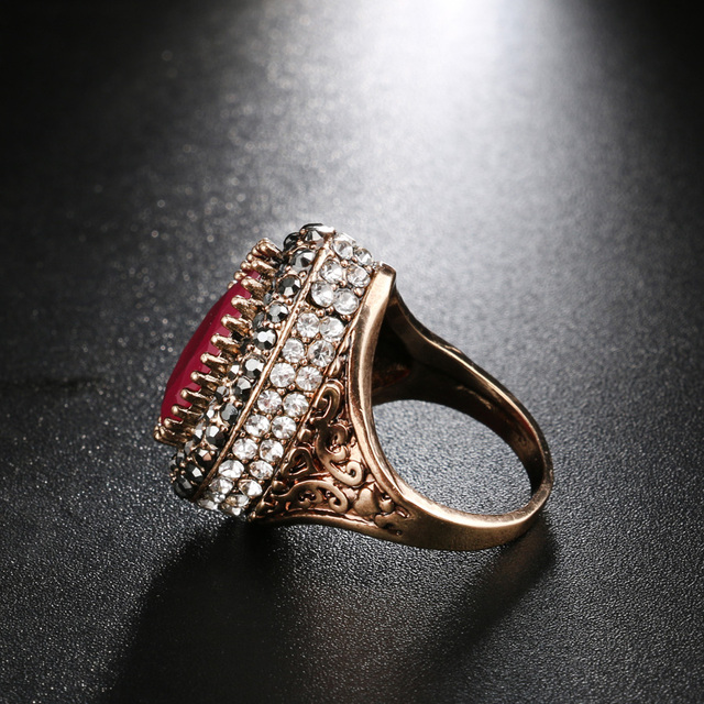 Gulkina Red Resin Big Ring For Women Wedding Party Accessories Antique Gold CZ Mosaic retro Female Finger ring Vintage Jewelry