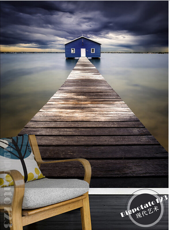 Custom 3D large mural,beautiful fantasy dark clouds of wood path leading to the blue house,living room TV wall bedroom wallpaper