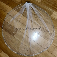 5m long 3m widthWhite/Ivory Real Photos Wedding Veil 2018 Gorgeous Short With Comb Lace Beaded Bridal Veil Wedding Accessories