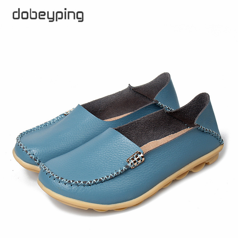 New Women Real Leather Shoes Comfortable Mother Loafers Soft Woman's Flats Leisure Female Driving Footwear Boat Shoe Size 35-44 купить