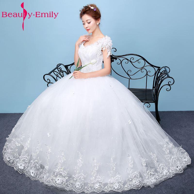 Skönhet-Emily Vit Bröllopsklänningar 2017 Bollkedja Pärlor - Bröllopsklänningar - Foto 3