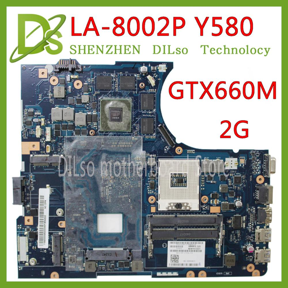 KEFU Y580 QIWY4 LA-8002P Motherboard For LENOVO Y580 Laptop Motherboard 90001314 GTX660M 2G HM76 DDR3 Test 100% Work