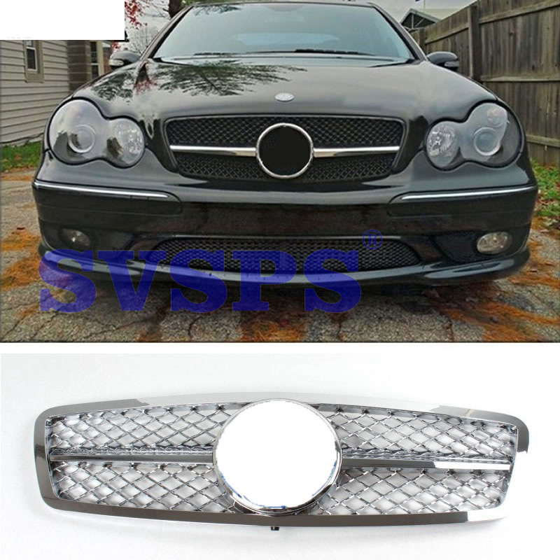 High Quality ABS Front Middle Grille For Mercedes Benz C-Class W203 Chrome Silver 2000-2006 Year стоимость