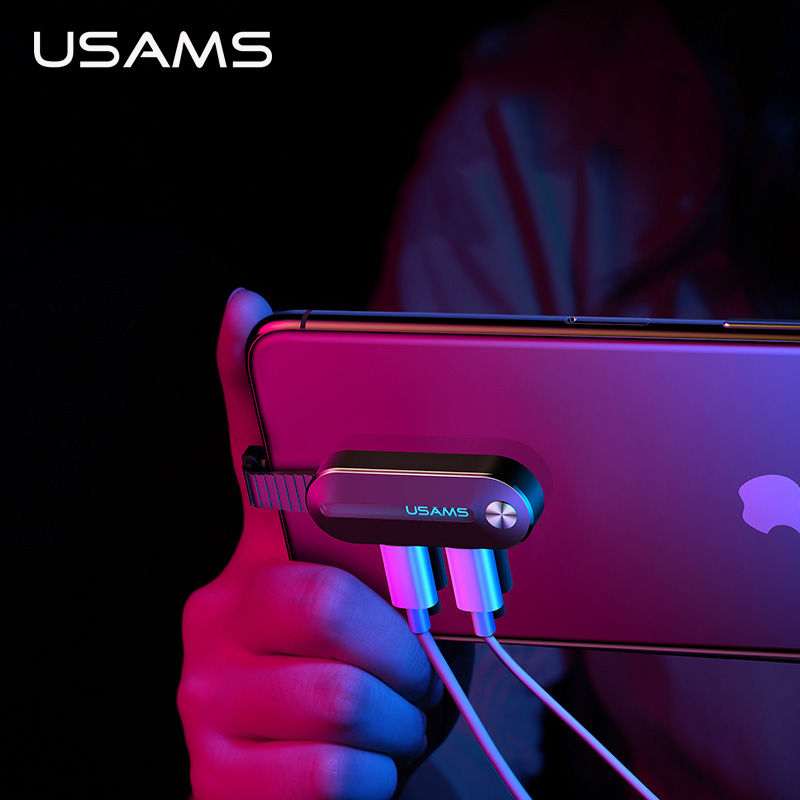 USAMS Dual Lighting Adapter 2 In 1 Audio 2A Charging For IPhone X XS 7 8 Adapter For Lightning 3.5mm Aux OTG Adapter