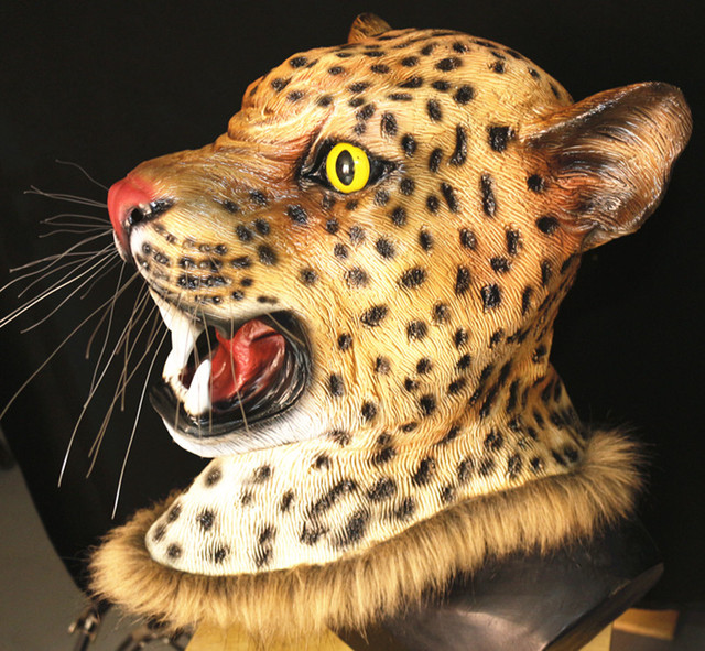 f8d49dfa6dc4 Promotional Realistic High-quality Fancy Costume Latex Leopard Man Mask  Halloween Prop