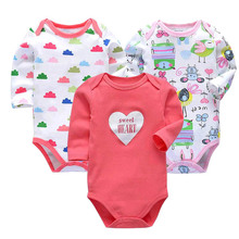 Купить с кэшбэком Baby Girls Clothes Newborn Toddler Babies Long Sleeve 0-24 Months Bodysuit 3 Pack Infant Boys Clothing