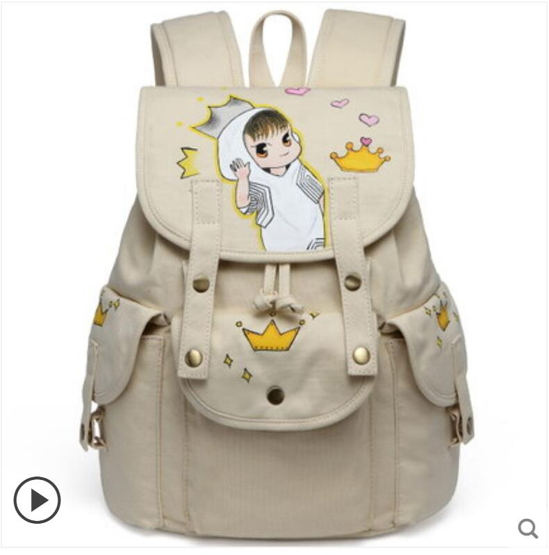 Hand-painted backpack men and women canvas backpack college style Korean student bag fashion cute backpack