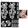 1 Piece Large Hollow Henna Tattoo Stencil Black Color Spindrift Flowers Henna Paste Drawing Female Body Art Tattoo Stencil S308
