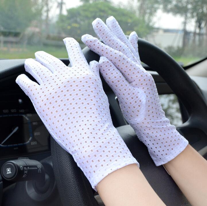 Women's Spring Summer Sunscreen White Mesh Gloves Men's Uv Protection Breathable Driving Glove R1123