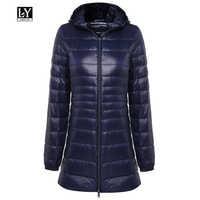Ly Varey Lin women Winter Warm Medium Long Coats Ultra Light 90% White Duck Down Jacket Female Hooded Plus Size 6xl Down Parkas