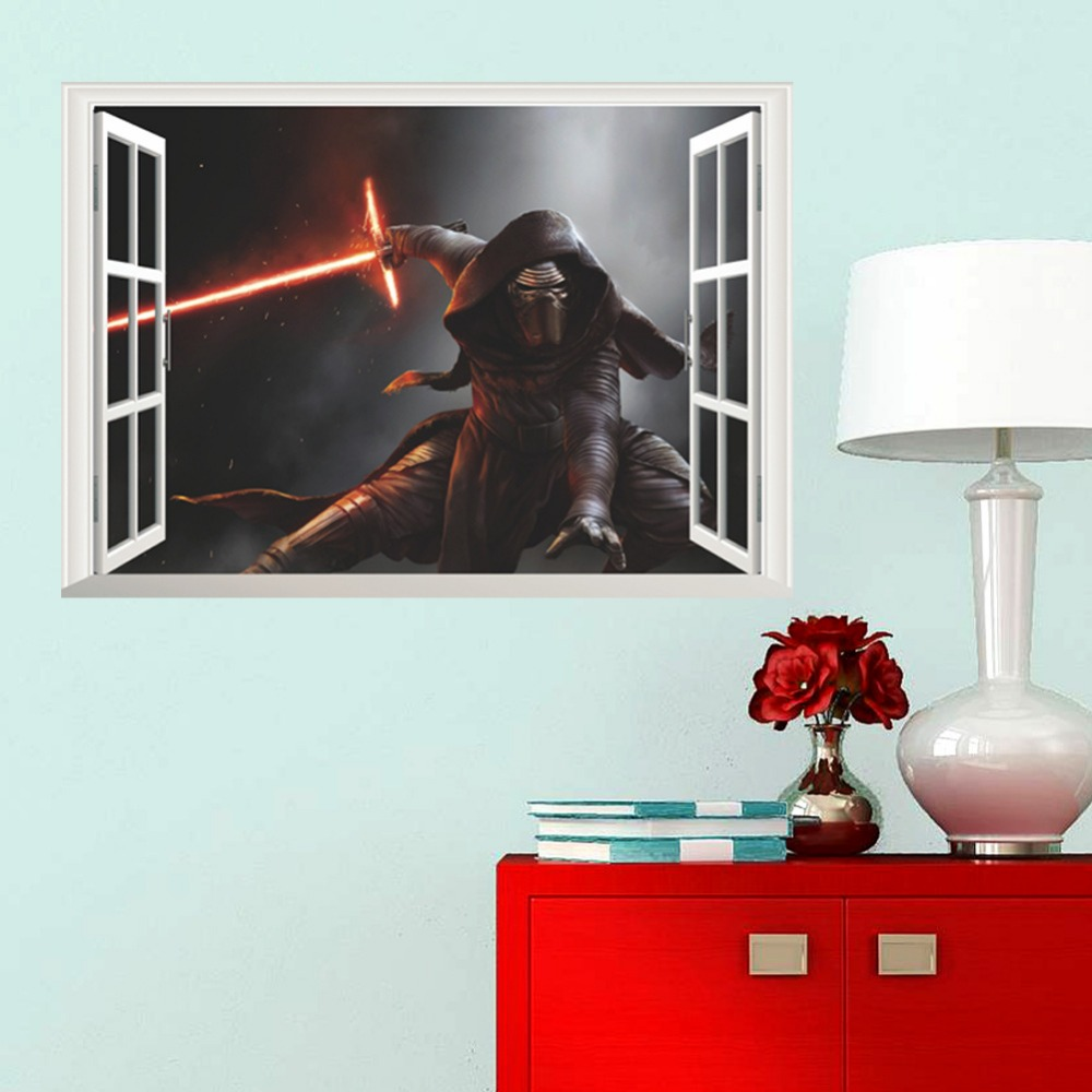 popular movie wall decals buy cheap movie wall decals lots from star war spacecraft fake windows wall stickers kids children room decor boy s gift diy