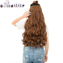 S-noilite 28″ One Piece Long Clip in Hair Extension half full head real natural remy hair Extentions Curly Synthetic Hairpiece