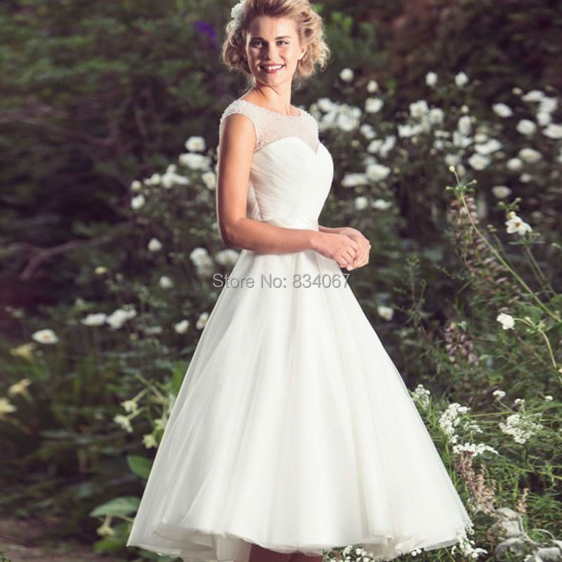 Classic Illusion A Line Tulle Short Wedding Dress 2017