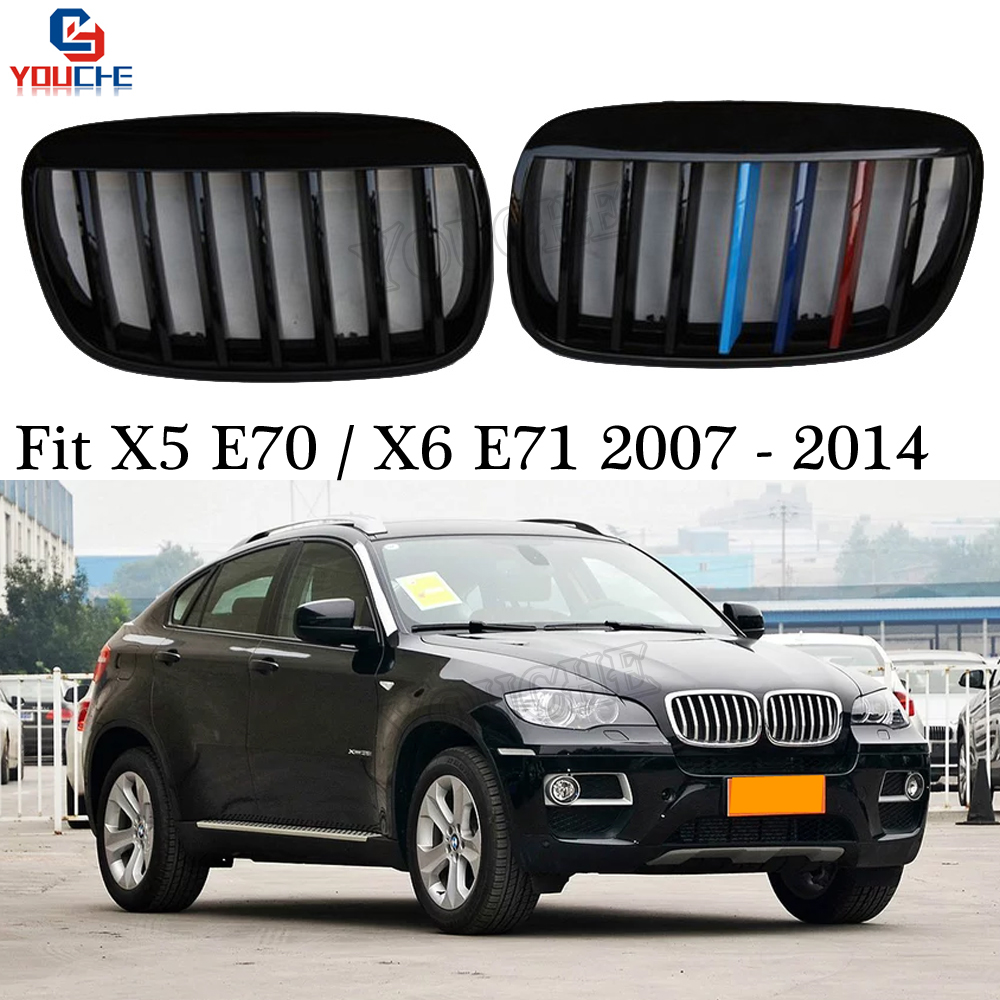 E70 E71 Replacement Gloss M Grills for BMW X5 E70 X6 E71 SUV 2007 2014 Front Bumper Kidney Grille Mesh