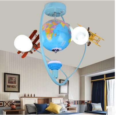 Globe de style européen chambre d'enfants lumières garçon chambre plafonnier créatif moderne simple avion lampes TA9219B