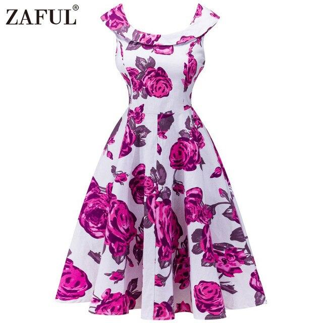 d7600ee1cd5 ZAFUL New Summer Vintage Women Dress Retro Robe Hepburn 50s Rockabilly Sleeveless  Print Party dresses Feminino Tunic Vestidos