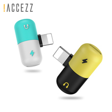 !ACCEZZ 2 IN 1 Dual Lighting Fast Charging Headphone Adapter For iphone 8 7 Plus XS Max XR X Charge Listening Jack  AUX Splitter