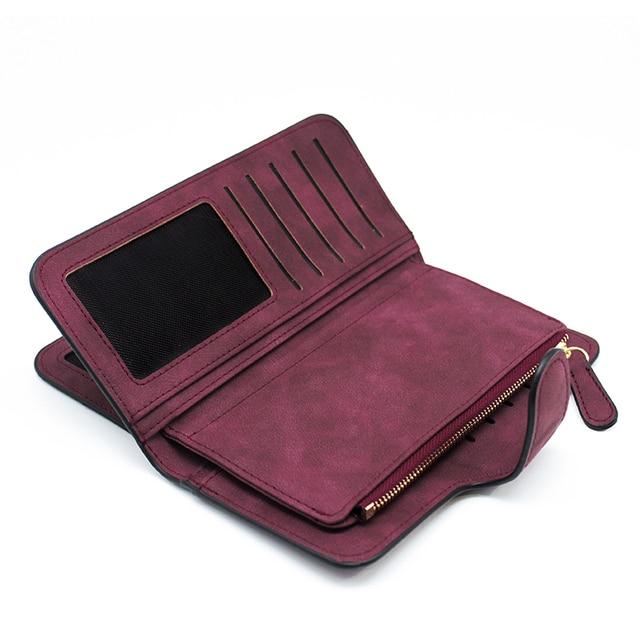 Suede Leather Zipper Long Wallet  1