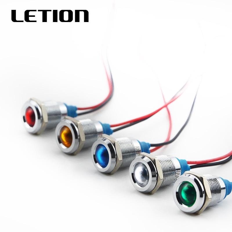 12mm LED Metal Indicator Light Waterproof IP67 Signal Lamp 3V 6V 12V 24V 110V 220V Red Yellow Blue Green White Free Shipping