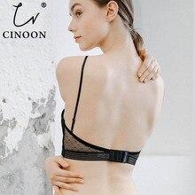 CINOON ファッションメッシュ薄手のブラセット下着女性女の子ワイヤレス U 字型バックブラジャーパンティーは刺繍レースのランジェリーセット