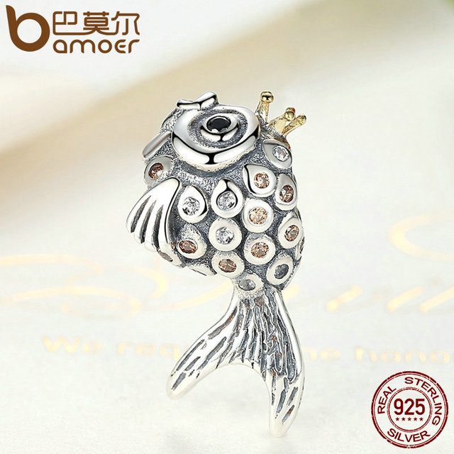 Sterling Silver Crown Fish Beads Charm