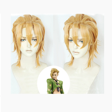 лучшая цена JOJO'S BIZARRE ADVENTURE Gold Wind Pannacotta Fugo Cosplay Hair Wig Anime Game Golden Hair Unstyled Costume Props Free wigs cap
