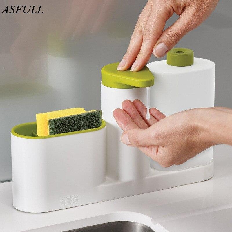 ASFULL Multifunzionale Lavaggio Spugna Detersivo Dispersore Dispenser di Sapone Rack di Stoccaggio Disinfettante per le mani per la Bottiglia uso Cucina
