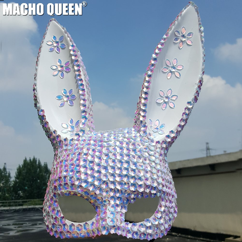 Costumes & Accessories Holographic Rhinestone Burning Man Skull Mask Drag Queen Costumes Summer Festival Rave Clothes Outfits Gear Celebrity Stage Gear Vivid And Great In Style