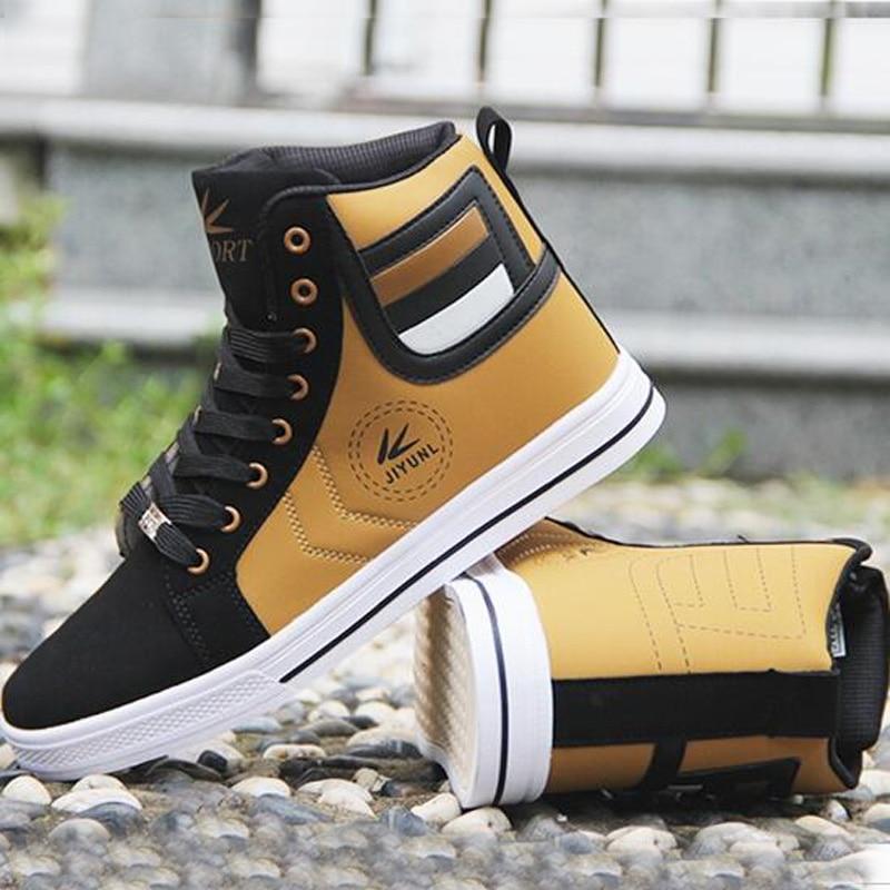 Men's Vulcanize Shoes Lace-up Men Casual Shoes Fashion High Top Men High Pipe Retro Comfortable Men's Flat Shoes Q71