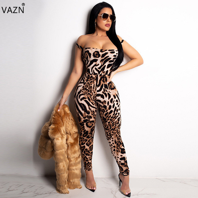 d367fc06a37d VAZN 2018 Hot Fashion Sexy Leopard Long Jumpsuits Women Sleeveless Lace Up  Skinny Jumpsuits Ladies Backless Jumpsuits LZL478