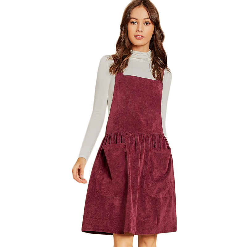 b7074ed748b1b SHEIN Burgundy Pocket Front Cord Pinafore Dress Sleeveless Plain Strap  Dress Casual Elegant Autumn Modern Lady Women Dresses
