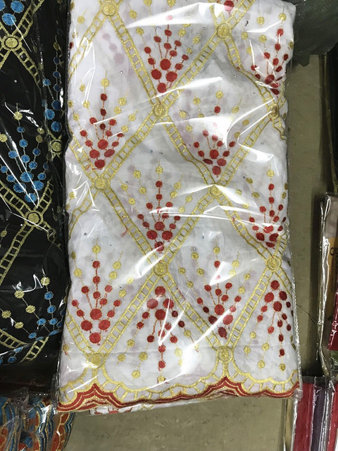 Tessuto africano del merletto bianco merletto svizzero del voile in svizzera broccato tessuto jacquard dubai tessuto nigeriano gele headtie 7 yard/ set