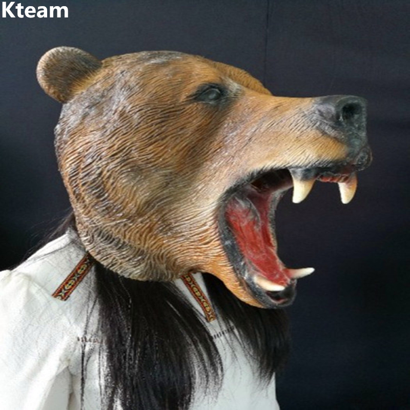 Halloween Party Celebration Fancy Dress Full Face Cosplay Bear head Mask Costume Latex Brown Bear dog Mask for Carnival Animal
