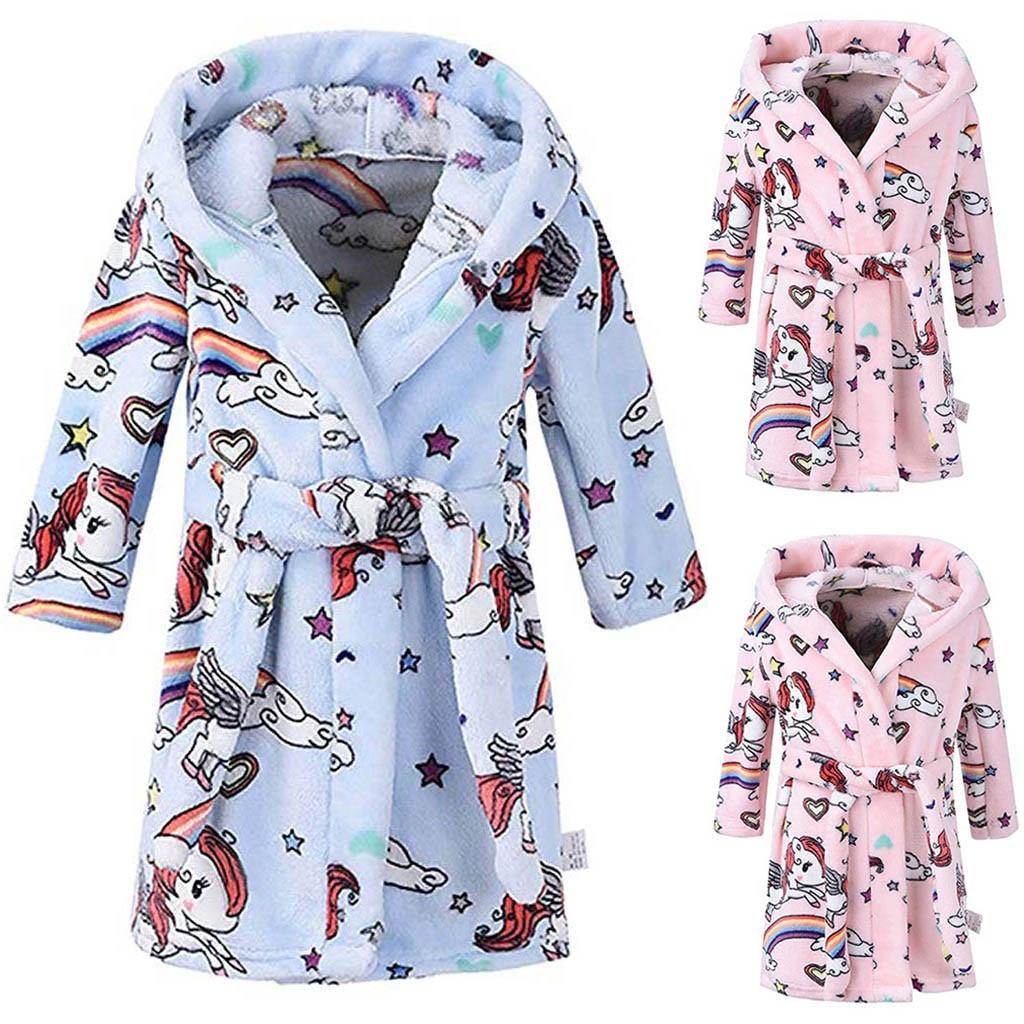Discreet Muqgew Unisex Kinderen Nachtkleding Robes Baby Meisjes Jongens Cartoon Print Flanel Badjassen Hoodie Handdoek Pyjama Nachtjapon Pyjama Geavanceerde TechnologieëN