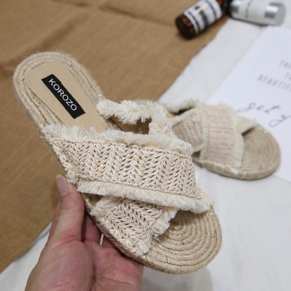 Для женщин соломы тапочки тростника ткань бахрома кросс-группа конопли летние шлепанцы плоская подошва эспадрильи слипоны вьетнамки