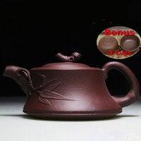 160ml Handmade Chinese Kung Fu Zisha Kettle Yixing Teapot Purple Clay Bamboo Tea Pot Bonus 3