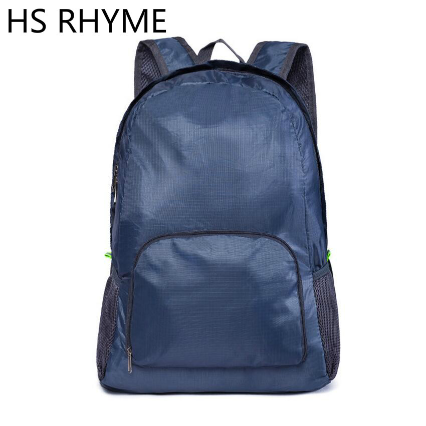 HS RHYME WaterProof Nylon Folding Plane Backpack Travel Portable Bag Sturdy School Mochila Women Sac A Dos Unisex Travelling Bag 2016 men women nylon backpack folding portable outdoor travel multifunction hiking rucksack sports bag casual school bag mochila