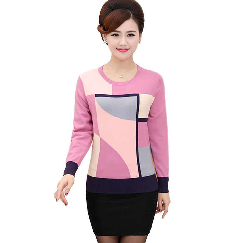2018 Spring Autumn Loose Geometric Print Sweater Women Casual Knitted Long Sleeve Sweater Plus Size Pullovers Sweater YP1061 1